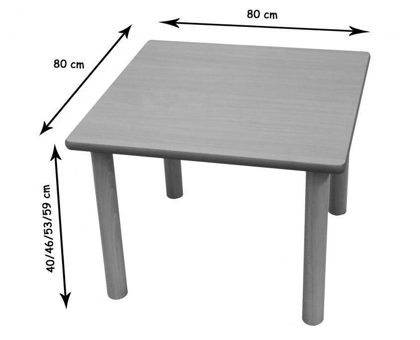 Mesa cuadrada 80 x 80 cm mobiliario escolar for Mobiliario 8 80