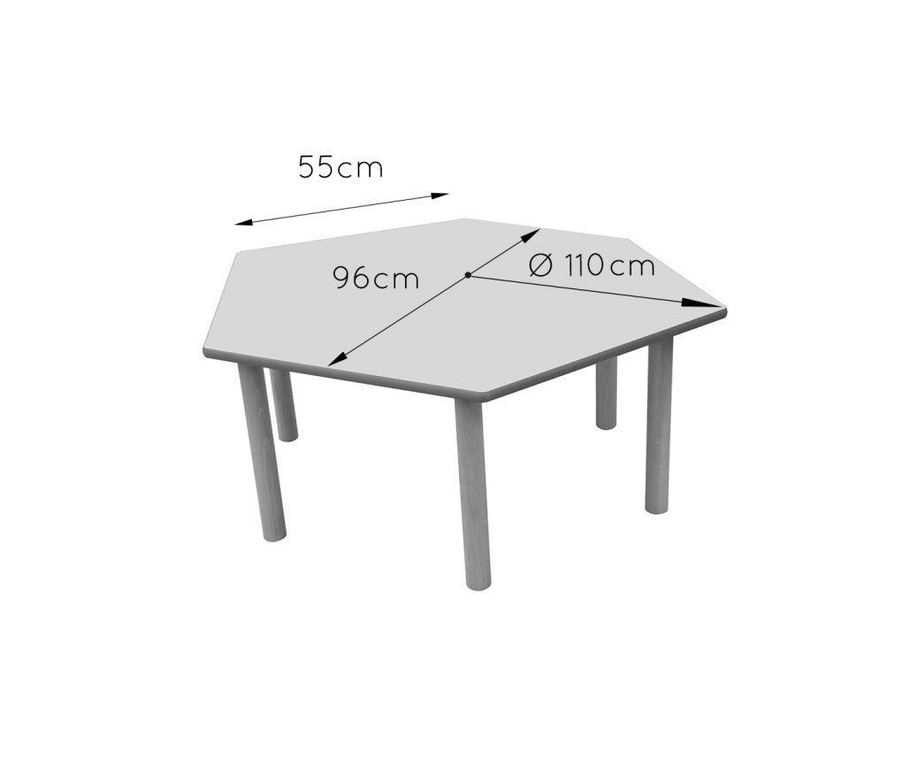 600564 mesa hexagonal mobiliario escolar mobeduc for Mobiliario escolar medidas